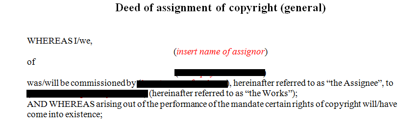 Deed of assignment of copyright (general)