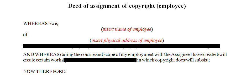 Deed of assignment of copyright (employee)