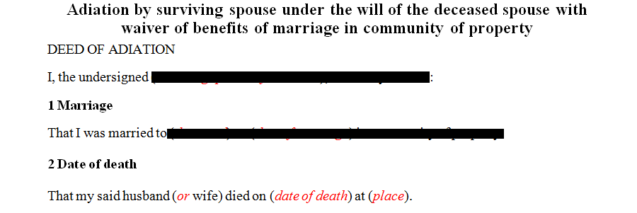 Adiation by surviving spouse under the will of the deceased spouse with waiver of benefits of marriage in community of property
