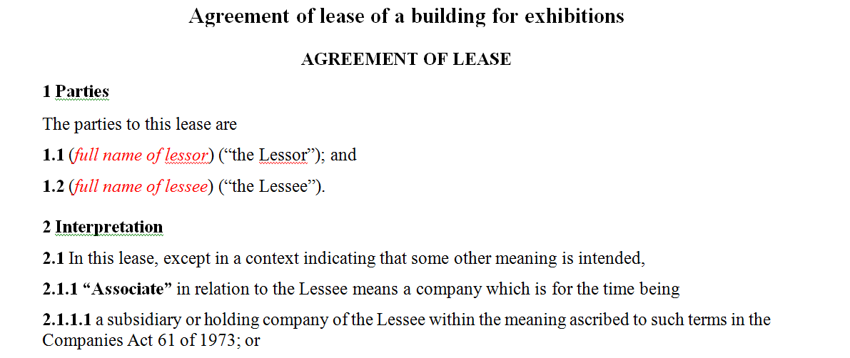 Agreement of lease of a building for exhibitions