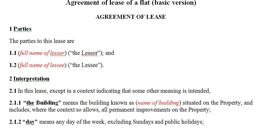 Agreement of lease of a flat (basic version)