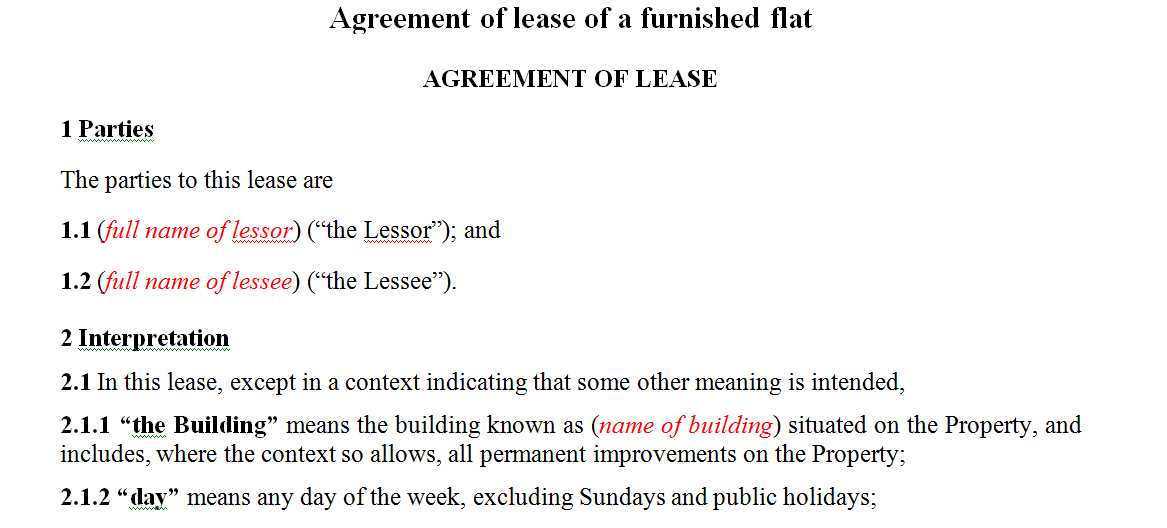 Agreement of lease of a furnished flat