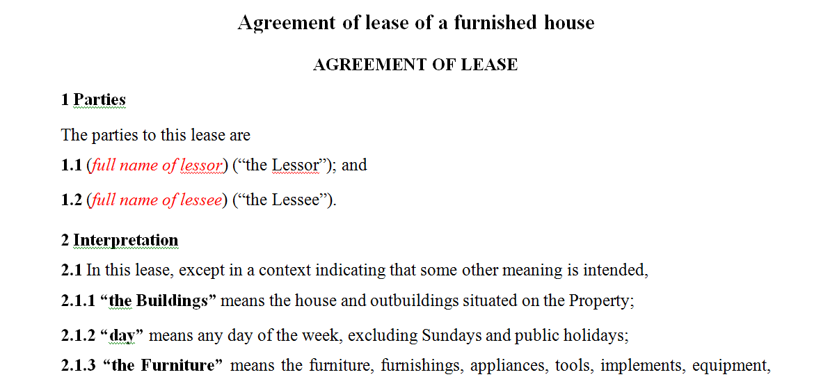 Agreement of lease of a furnished house