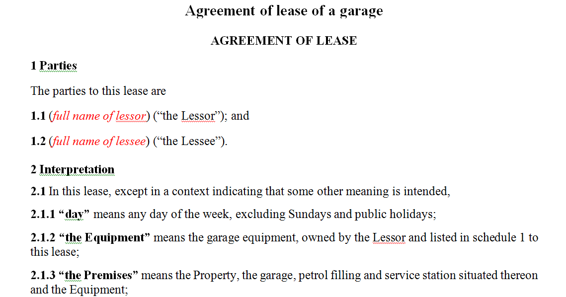 Agreement of lease of a garage