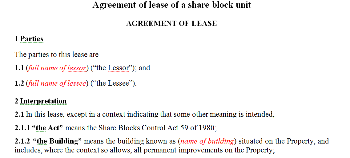 Agreement of lease of a share block unit