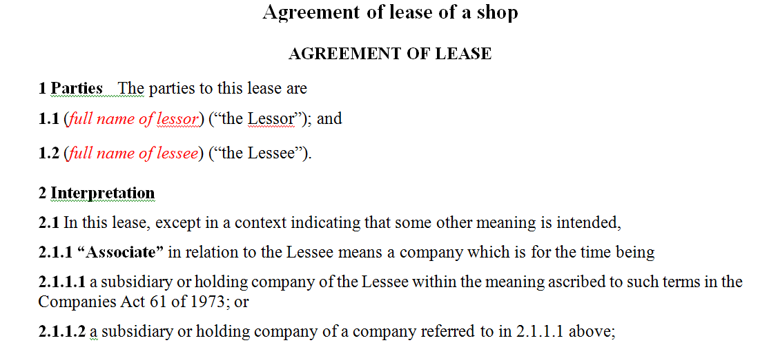 Agreement of lease of a shop