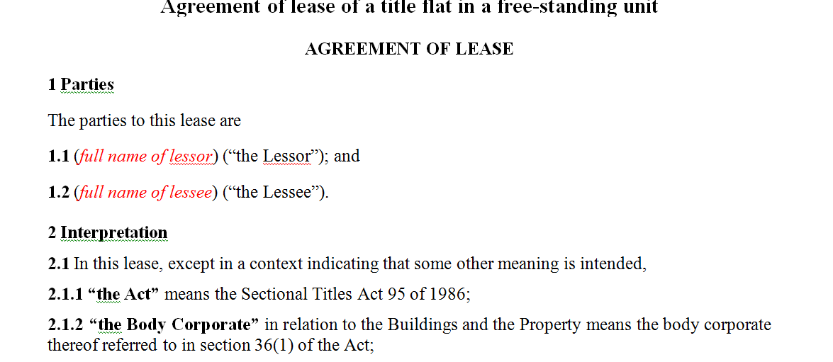 Agreement of lease of a title flat in a free-standing unit
