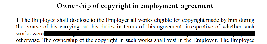 Clauses to be used in a contract with relation to copyright