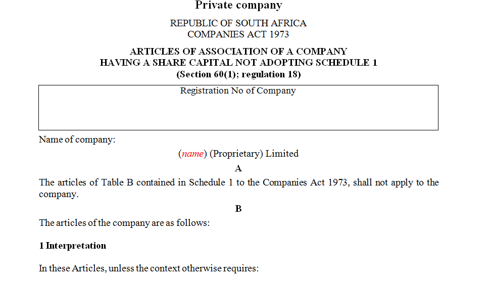 ARTICLES OF ASSOCIATION OF A COMPANY HAVING A SHARE CAPITAL NOT ADOPTING SCHEDULE 1