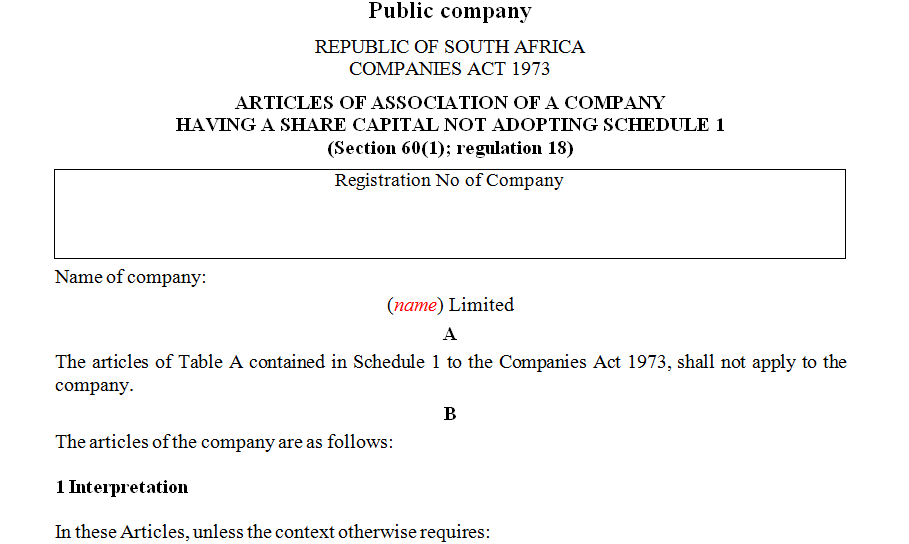 ARTICLES OF ASSOCIATION OF A COMPANY HAVING A SHARE CAPITAL NOT ADOPTING SCHEDULE 1- Public company