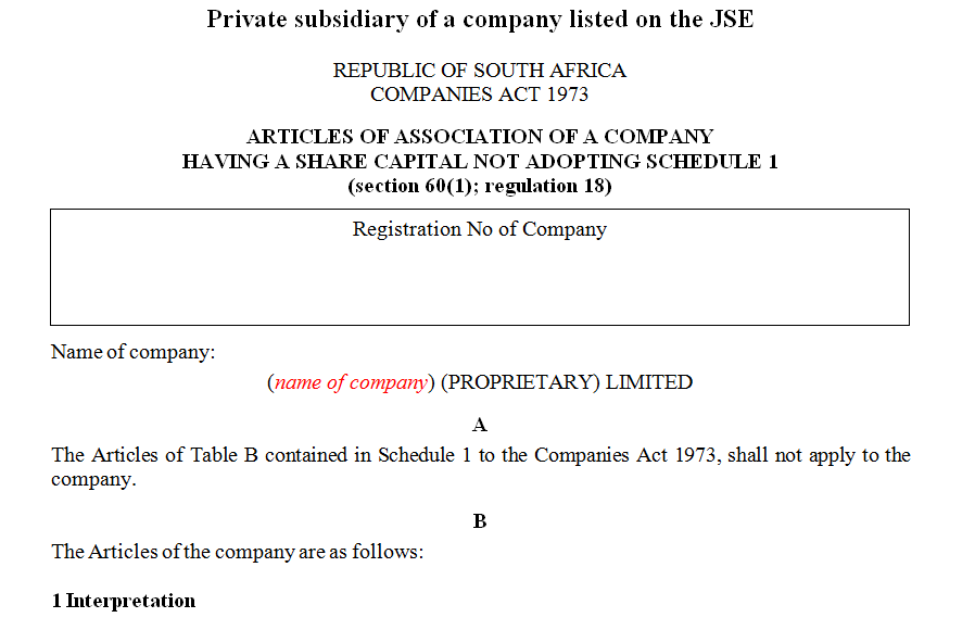 ARTICLES OF ASSOCIATION OF A COMPANY HAVING A SHARE CAPITAL NOT ADOPTING SCHEDULE 1- private subsidiary of a listed company