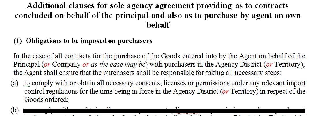 Additional clauses for sole agency agreement providing as to contracts concluded on behalf of the principal and also as to purchase by agent on own behalf