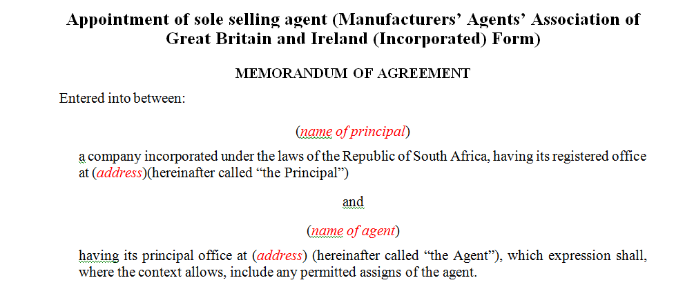 Appointment of sole selling agent (Manufacturers' Agents' Association of Great Britain and Ireland (Incorporated) Form)