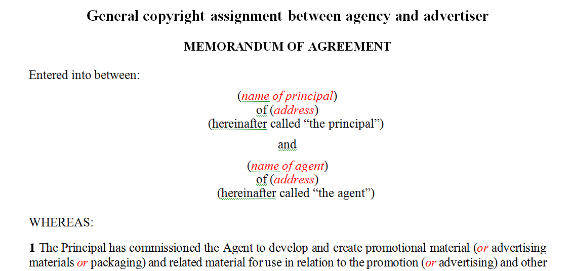 General copyright assignment between agency and advertiser