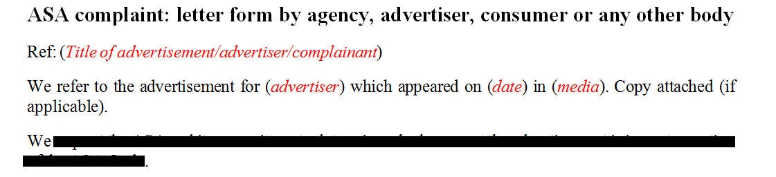 ASA complaint: letter form by agency, advertiser, consumer or any other body