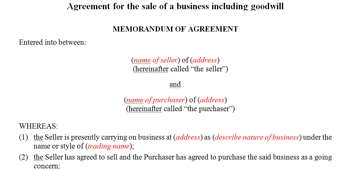 Agreement for the sale of a business including goodwill