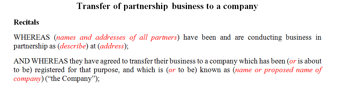 Transfer of partnership business to a company