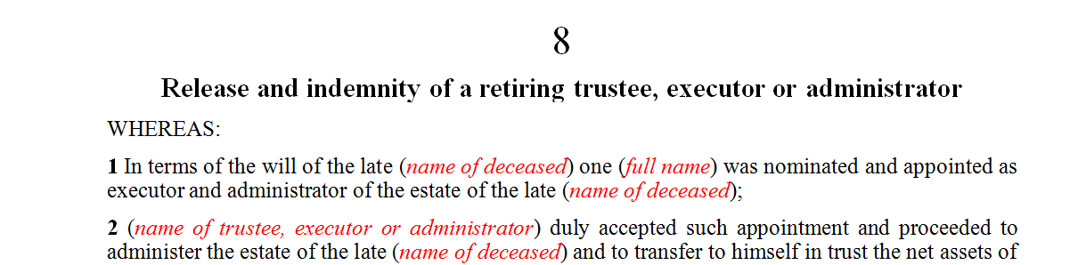 Release and indemnity of a retiring trustee, executor or administrator