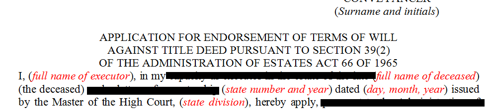 Application for the terms of will against the title deed pursuant to s39(2) of the Administration of Estates Act