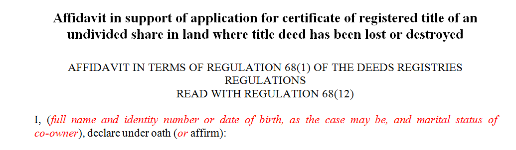 Affidavit in support of application for certificate of registered title of an undivided share in land where title deed has been lost or destroyed