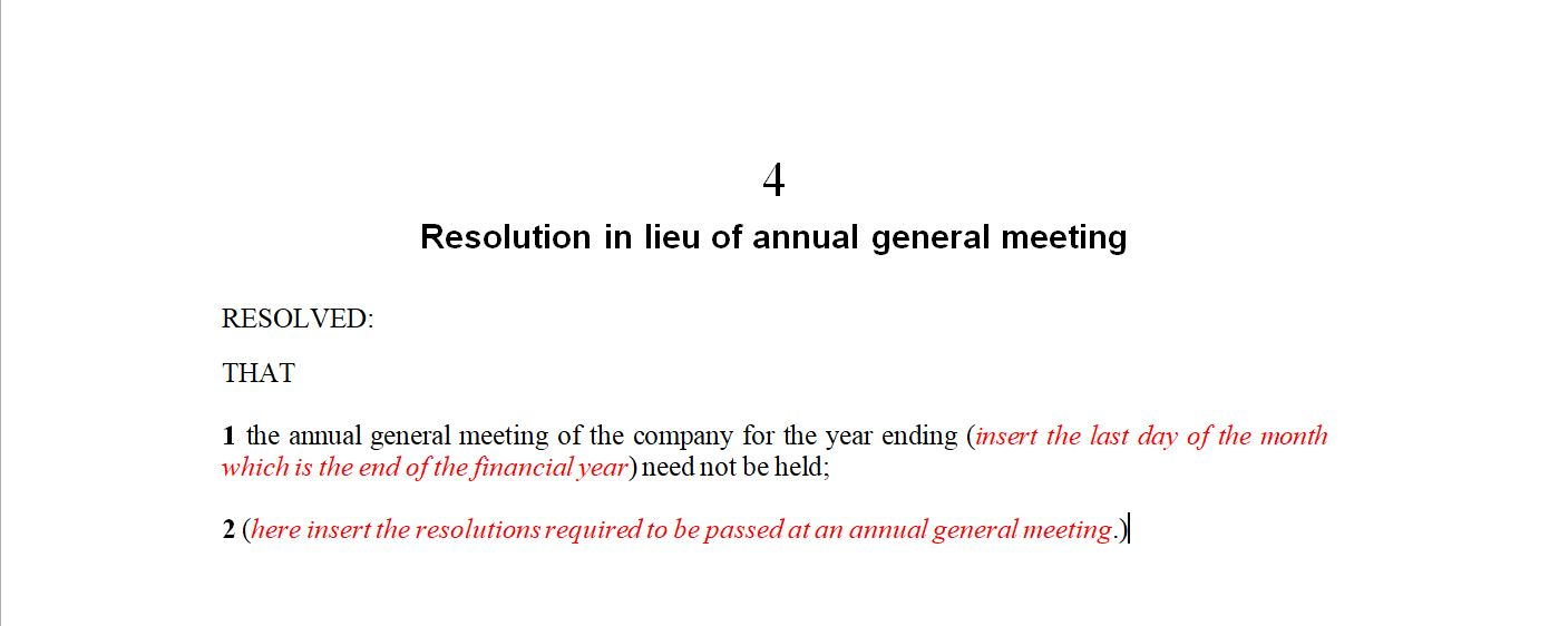 Resolution in Lieu if Annual General Meeting