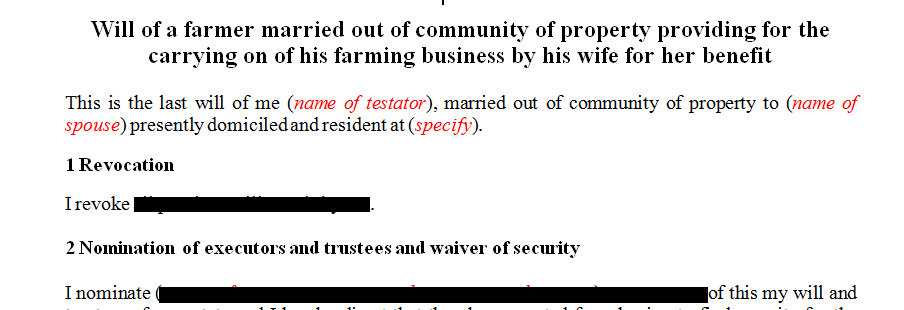 Will of a farmer married out of community of property providing for the carrying on of his farming business by his wife for her benefit