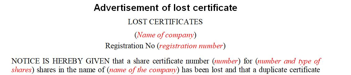 Advertisement of Lost Certificate