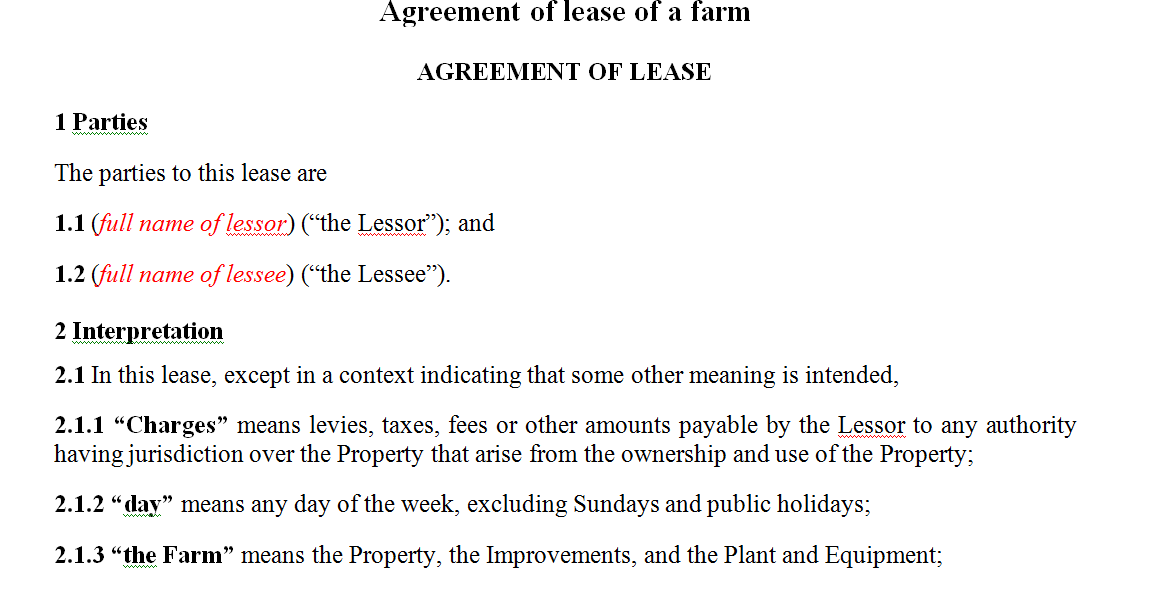 Agreement of lease of a farm