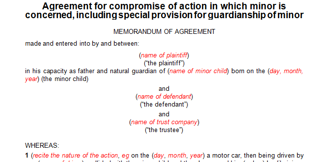 Agreement for compromise of action in which minor is concerned