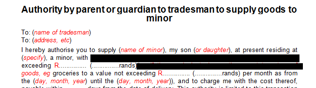 Consent  by parent or guardian granting authority to tradesman to supply goods to a minor