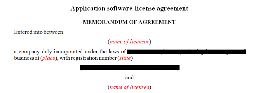 Application software license agreement