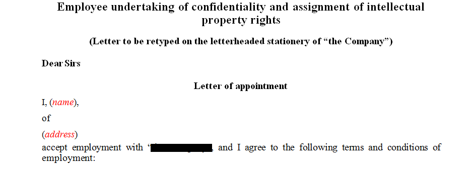 Employee undertaking of confidentiality and assignment of intellectual property rights