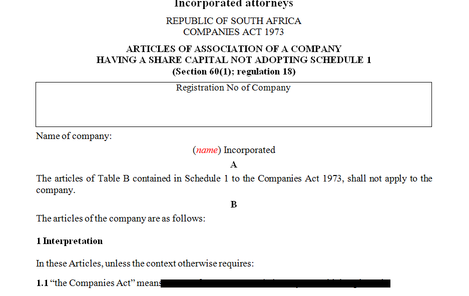 ARTICLES OF ASSOCIATION OF A COMPANY HAVING A SHARE CAPITAL NOT ADOPTING SCHEDULE 1- Incorporated attorneys