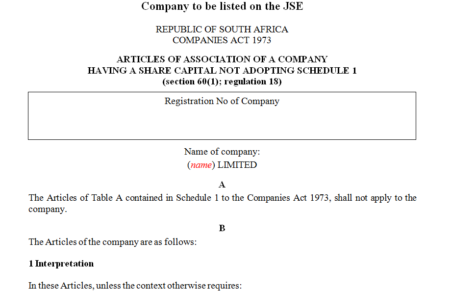 ARTICLES OF ASSOCIATION OF A COMPANY HAVING A SHARE CAPITAL NOT ADOPTING SCHEDULE 1 company to be listed