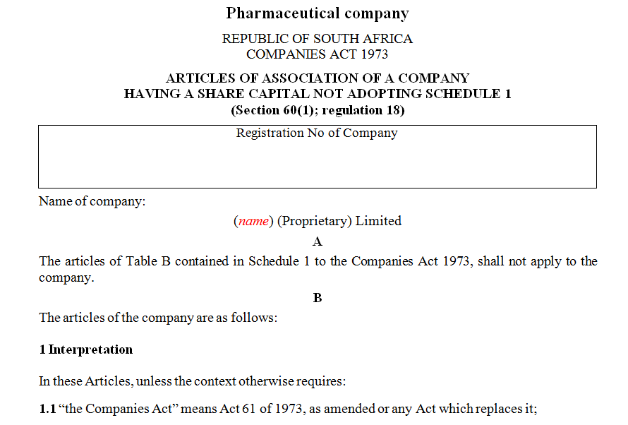 ARTICLES OF ASSOCIATION OF A COMPANY HAVING A SHARE CAPITAL NOT ADOPTING SCHEDULE 1- pharmaceutical company