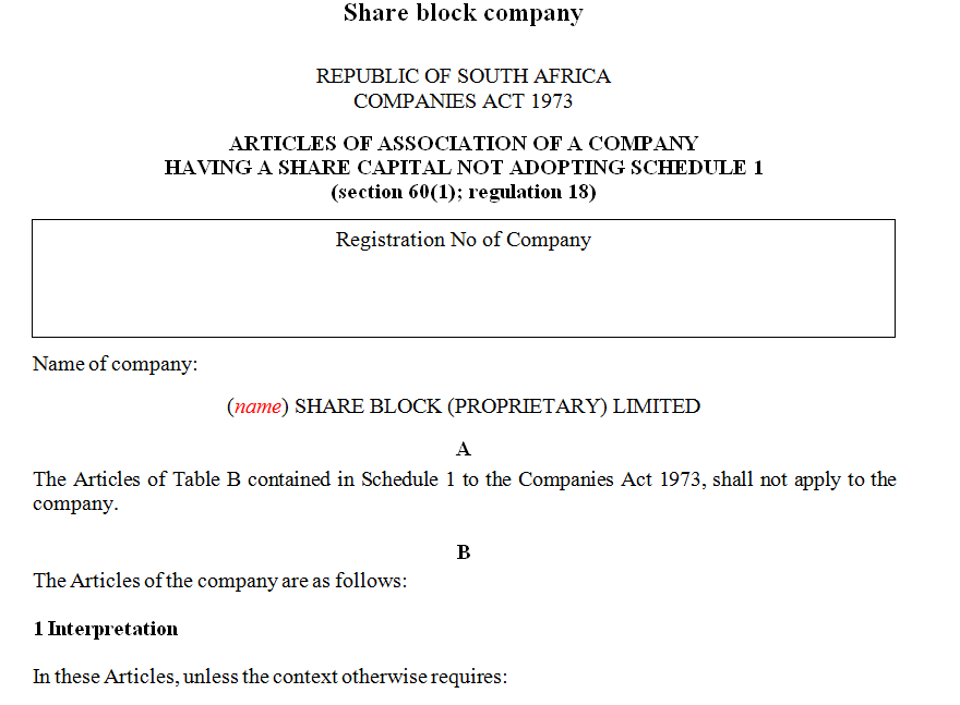 ARTICLES OF ASSOCIATION OF A COMPANY HAVING A SHARE CAPITAL NOT ADOPTING SCHEDULE 1- share block company