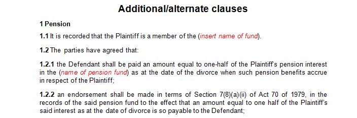 Additional or alternate clauses for the settlement agreement