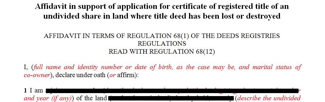 Affidavit in support of form H004