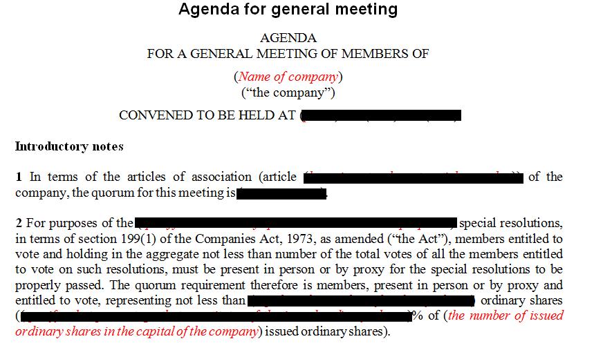 Agendas for company meetings