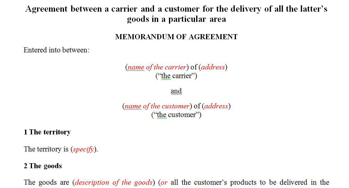 Agreement between a courier and a customer for the delivery goods