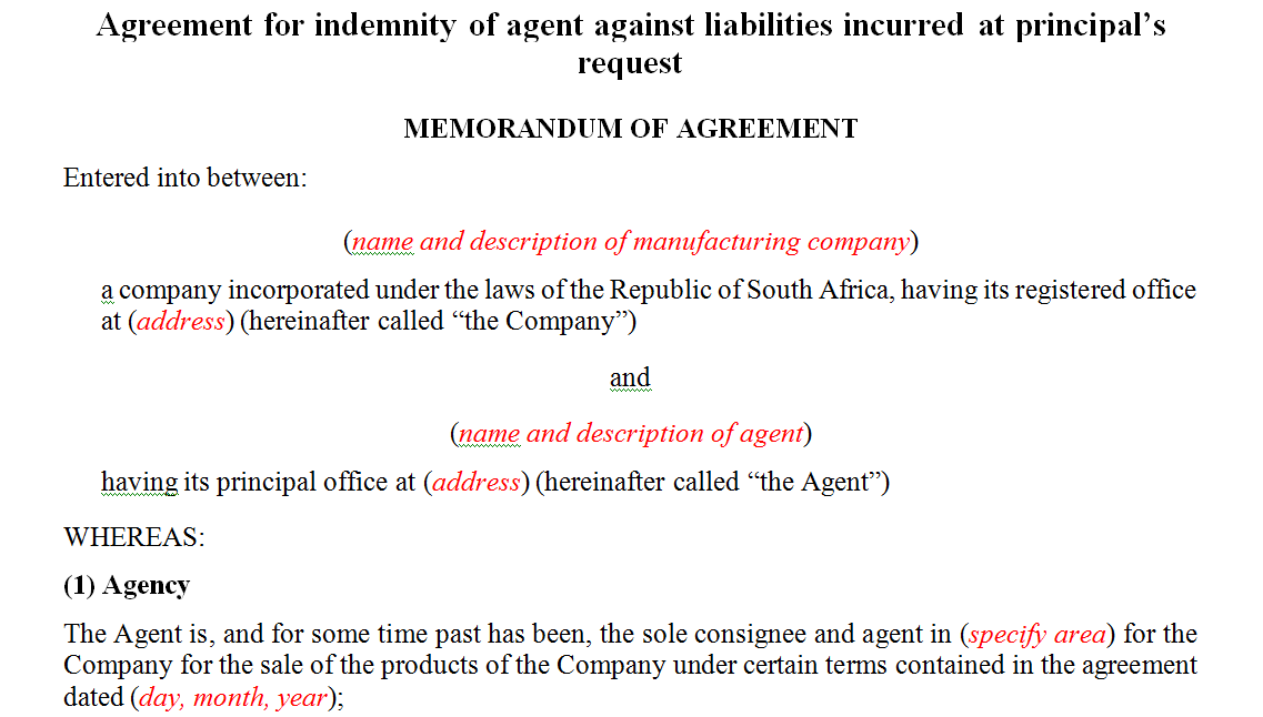 Agreement for indemnity of agent against liabilities incurred at principal's request