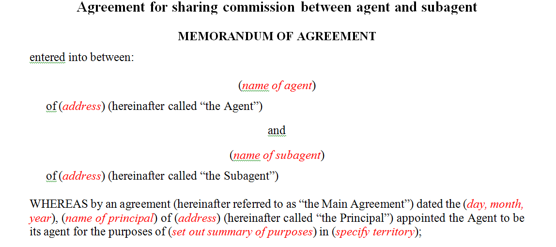 Agreement for sharing commission between agent and subagent