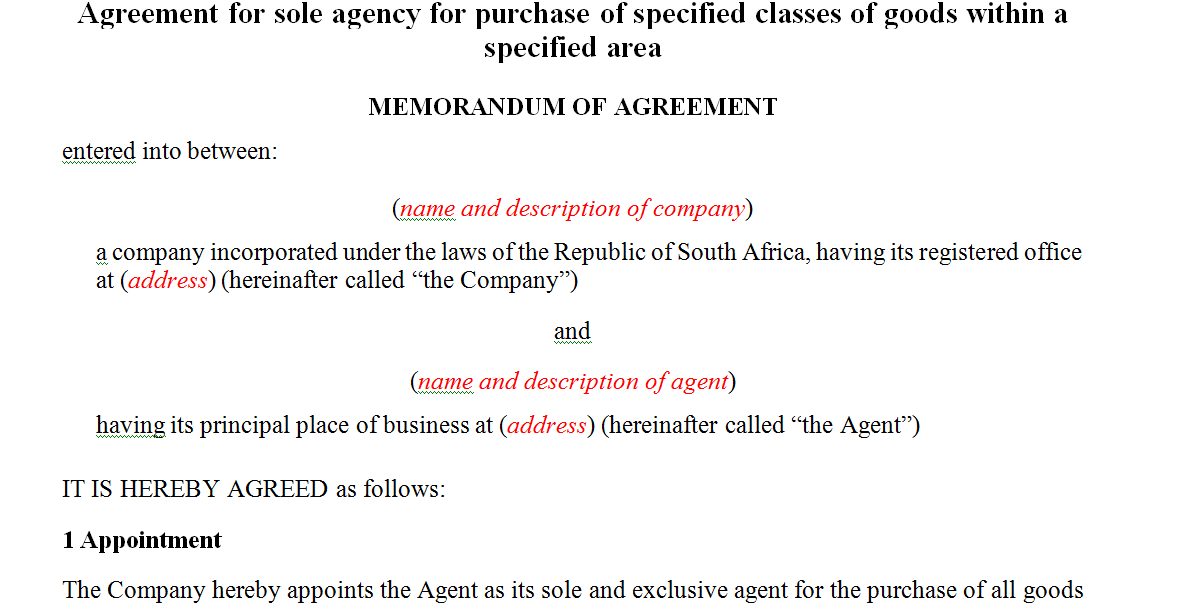 Agreement for sole agency for purchase of specified classes of goods within a specified area