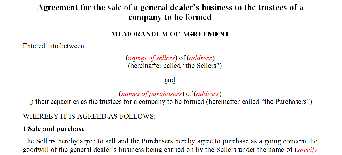 Agreement for the sale of a general dealer's business to the trustees of a company to be formed