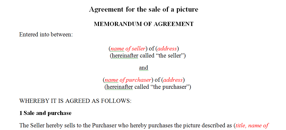Agreement for the sale of a picture