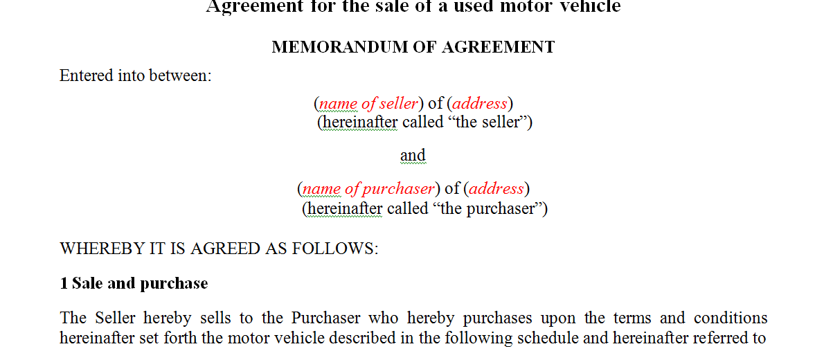 Agreement for the sale of a used motor vehicle