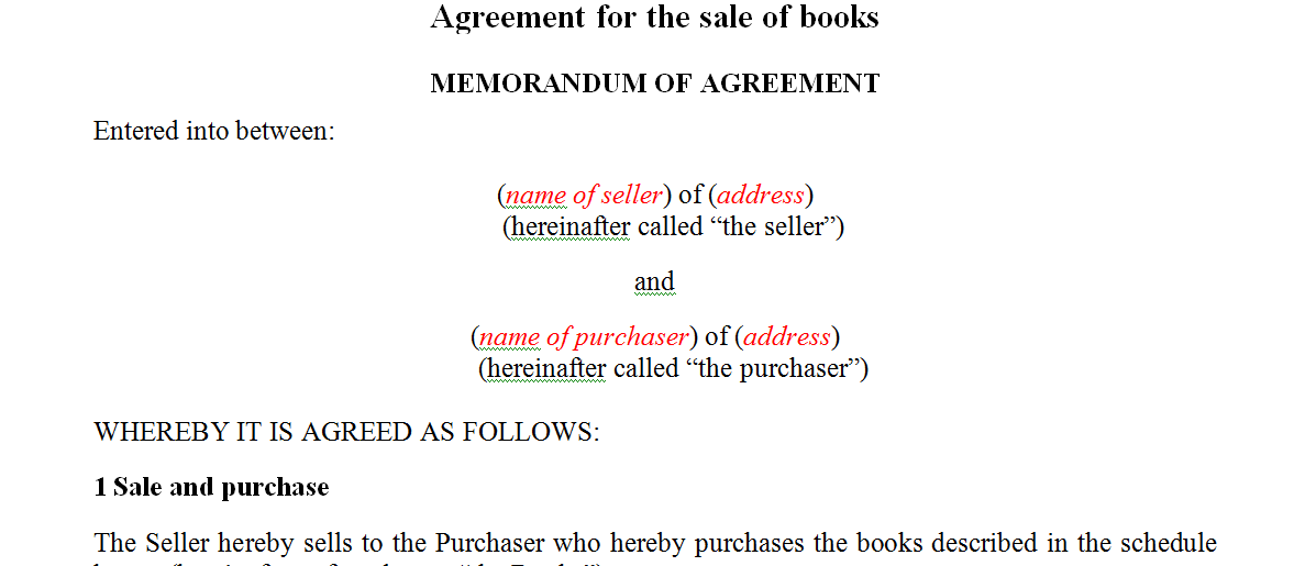 Agreement for the sale of books