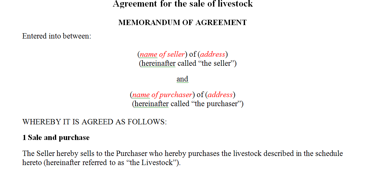 Agreement for the sale of livestock