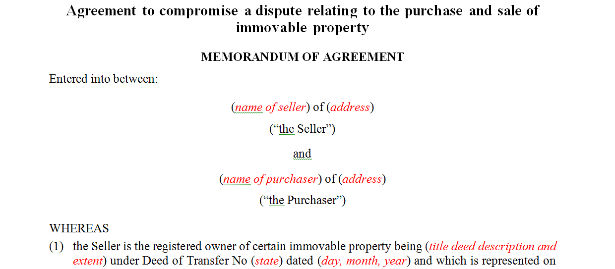 Agreement to compromise a dispute relating to the purchase and sale of immovable property