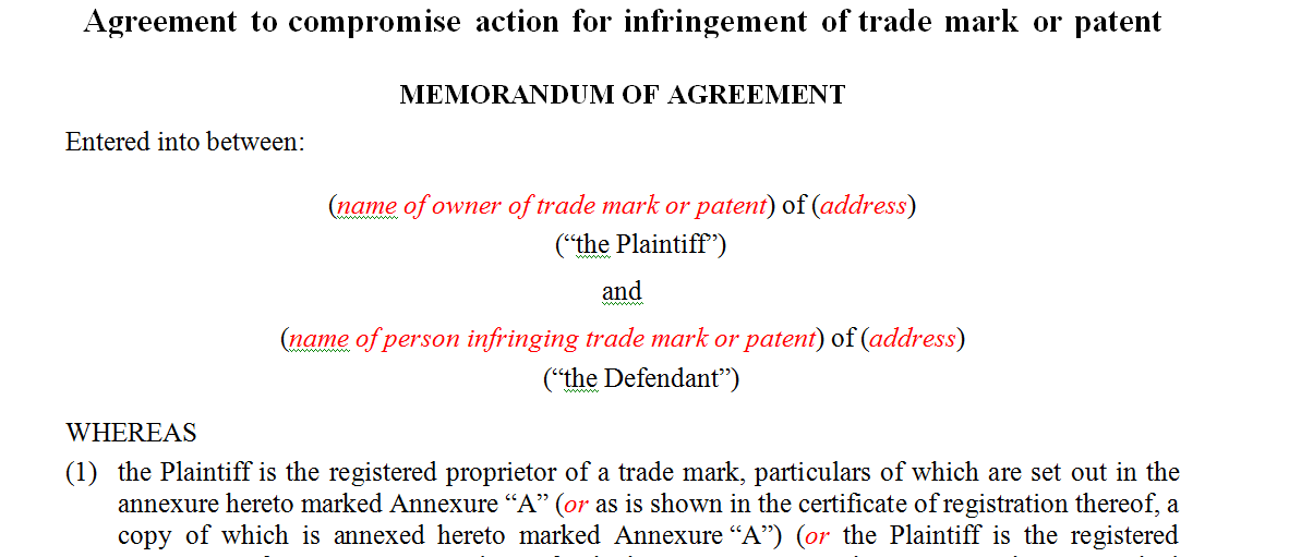 Agreement to compromise action for infringement of trade mark or patent